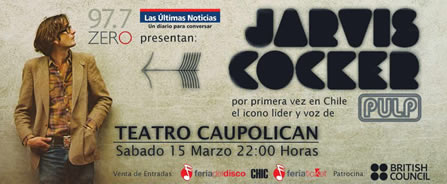 Banner Jarvis Cocker en Chile