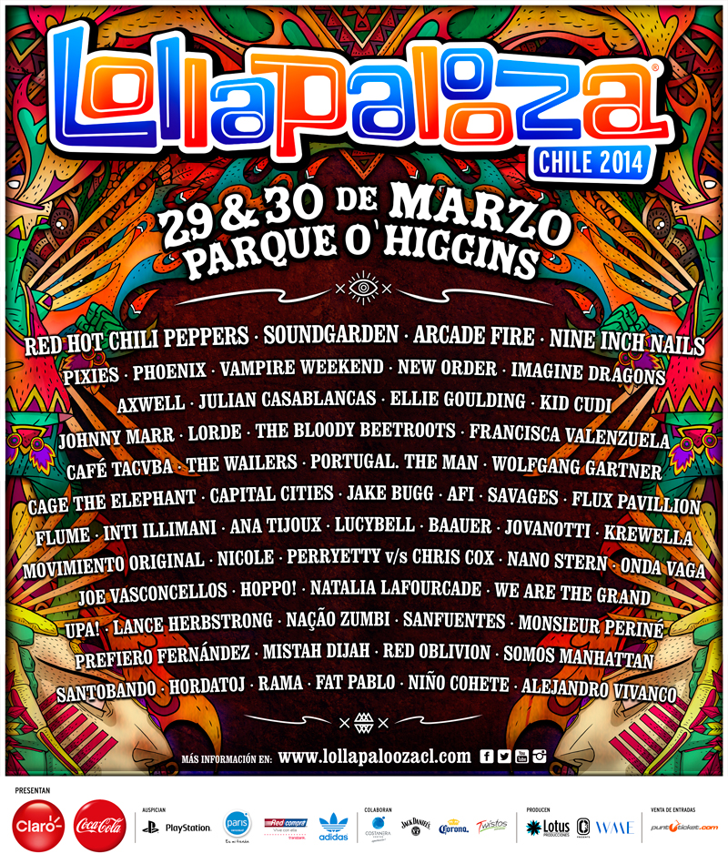Gira » ''The Halcyon Days Tour'' LollapaloozaChile2014_cartelcompleto