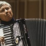 "American avant-garde composer and accordionist Pauline Oliveros performs at a World Music Institute ""Interpretations"" concert entitled 'The Music of Pauline Oliveros and Friends' at Merkin Concert Hall, New York, New York, November 14, 1991. (Photo by Jack Vartoogian/Getty Images)"