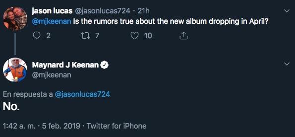 No, el nuevo álbum de Tool no saldrá en abril